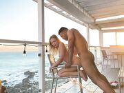 Interracial sunset bang mixed couple fantastic screwing on the porch